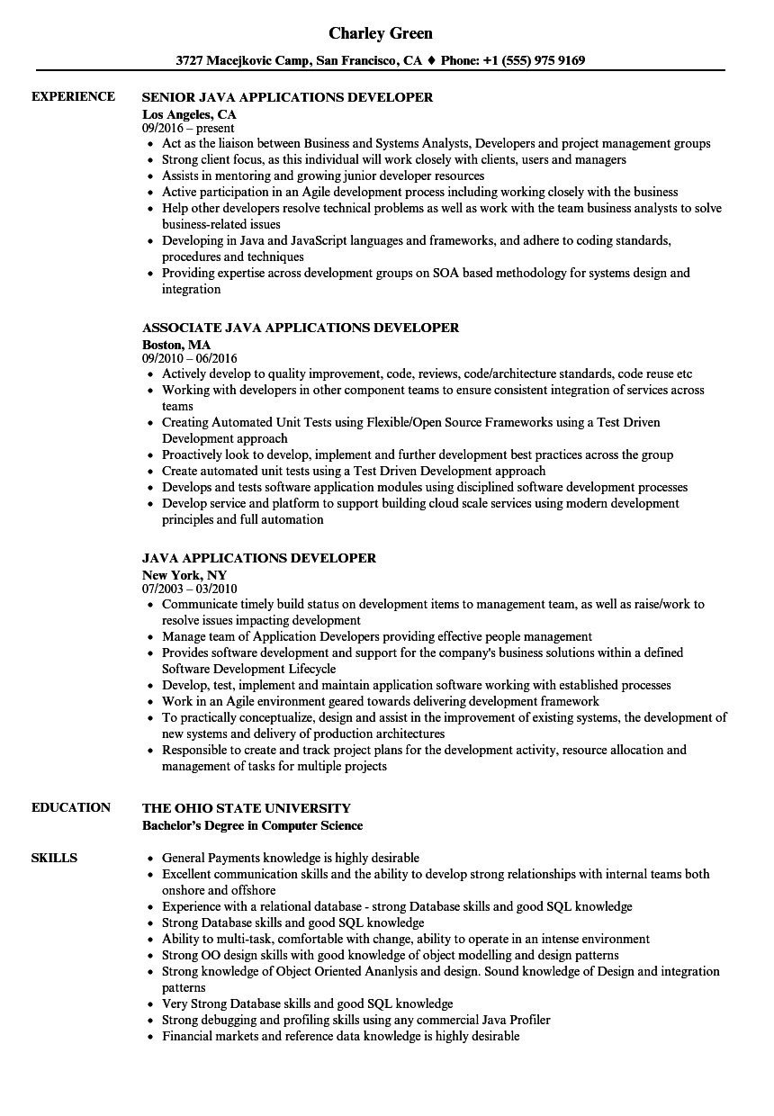 java applications developer resume samples