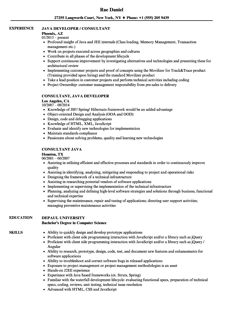 Java Consultant Resume Samples | Velvet Jobs