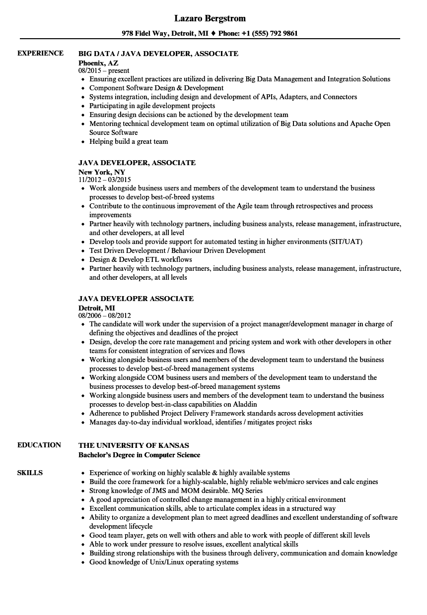 Java Developer Associate Resume Samples   Velvet Jobs