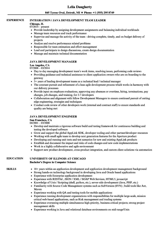 java development resume samples