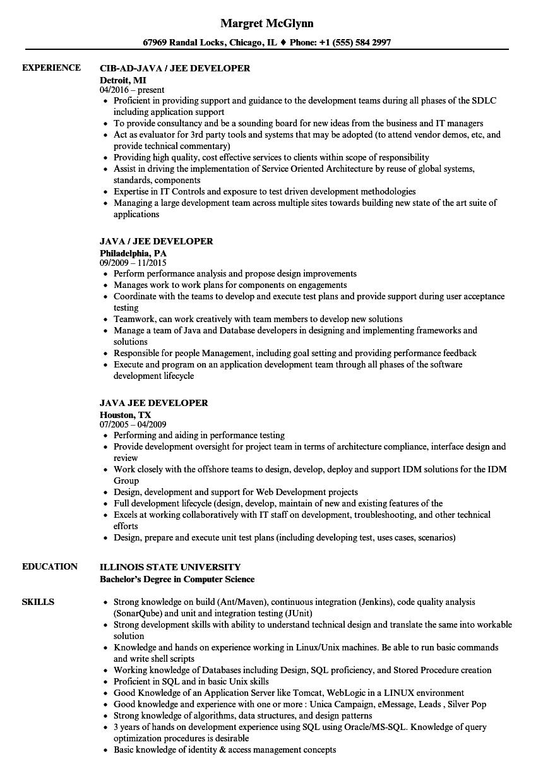 java    jee developer resume samples
