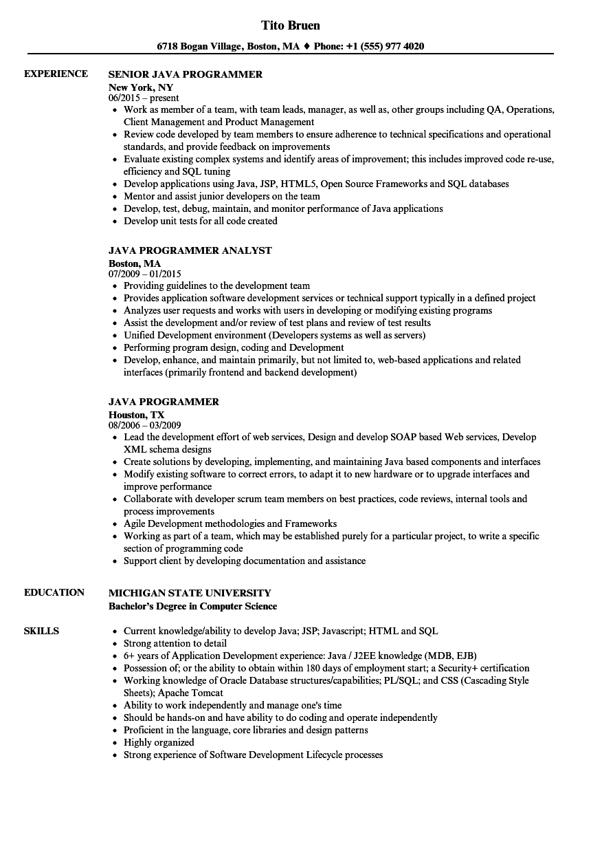 Java Programmer Resume Samples Velvet Jobs