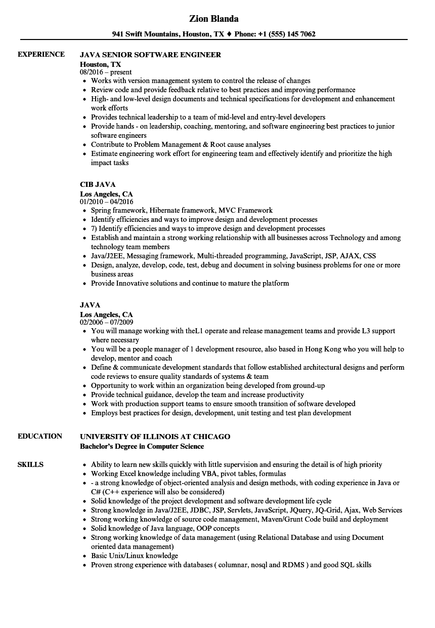 Java Resume Samples | Velvet Jobs