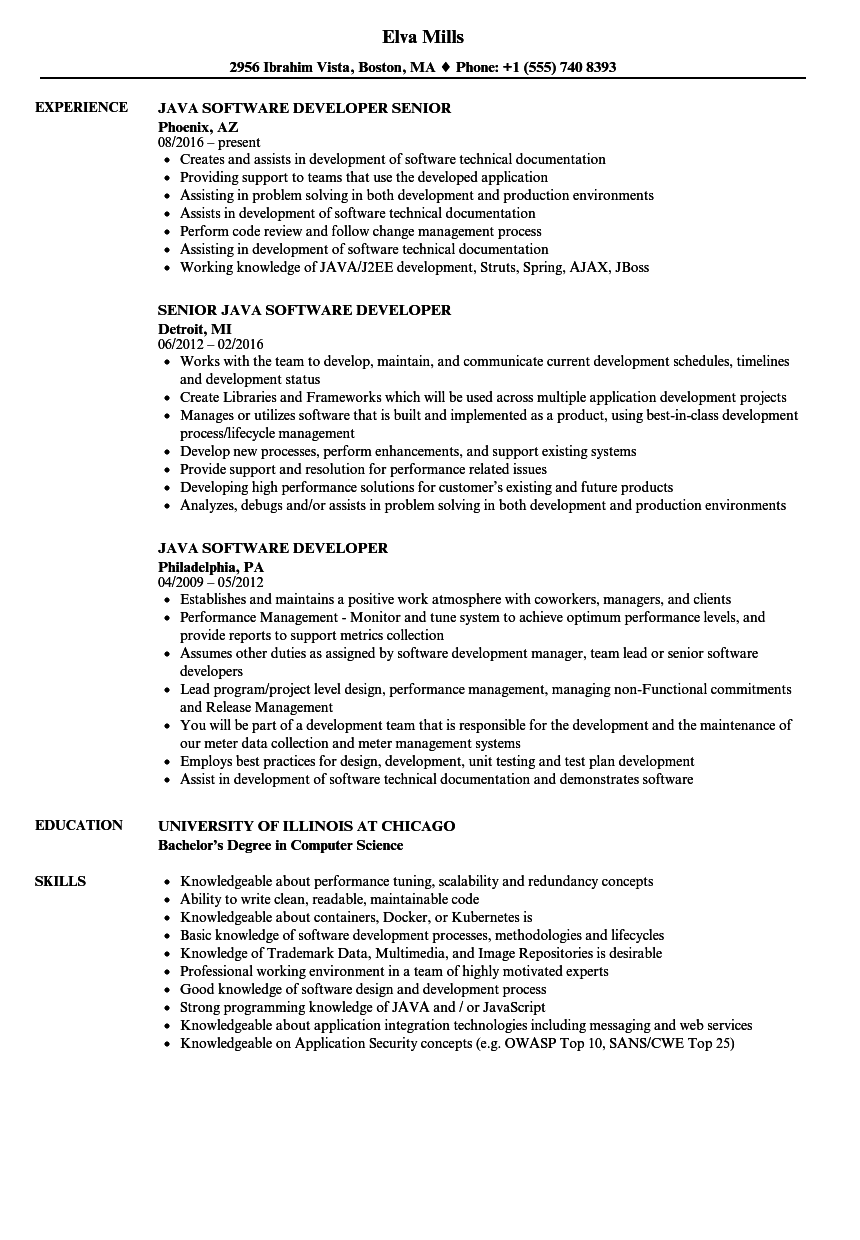 java software developer resume samples velvet jobs