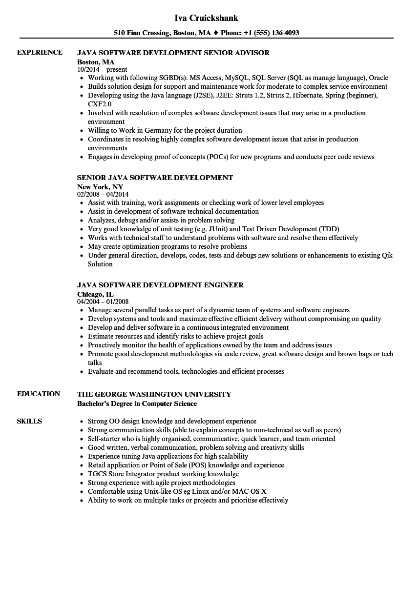 97 Java Resume Sample 3 Years Experience