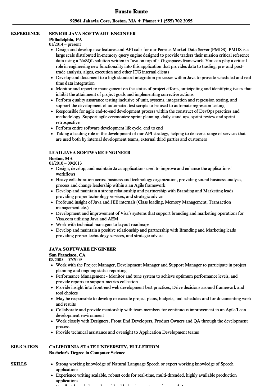 Java Software Engineer Resume Samples | Velvet Jobs