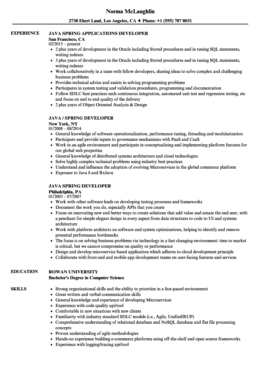 Java Spring Resume Samples | Velvet Jobs