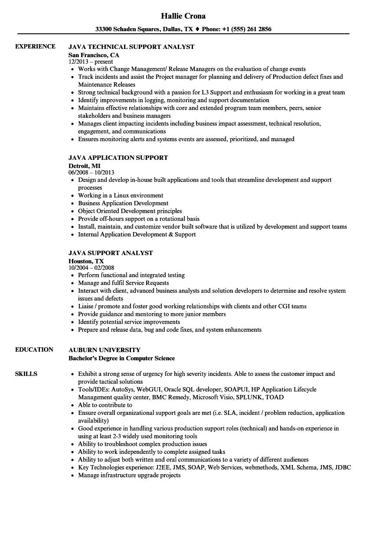 java support resume samples