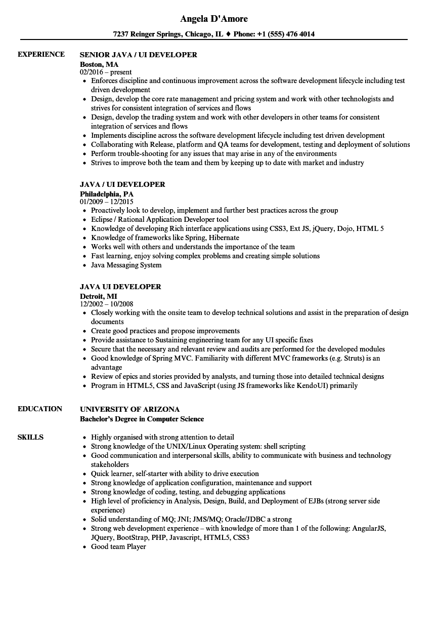 Java UI Developer Resume Samples Velvet Jobs