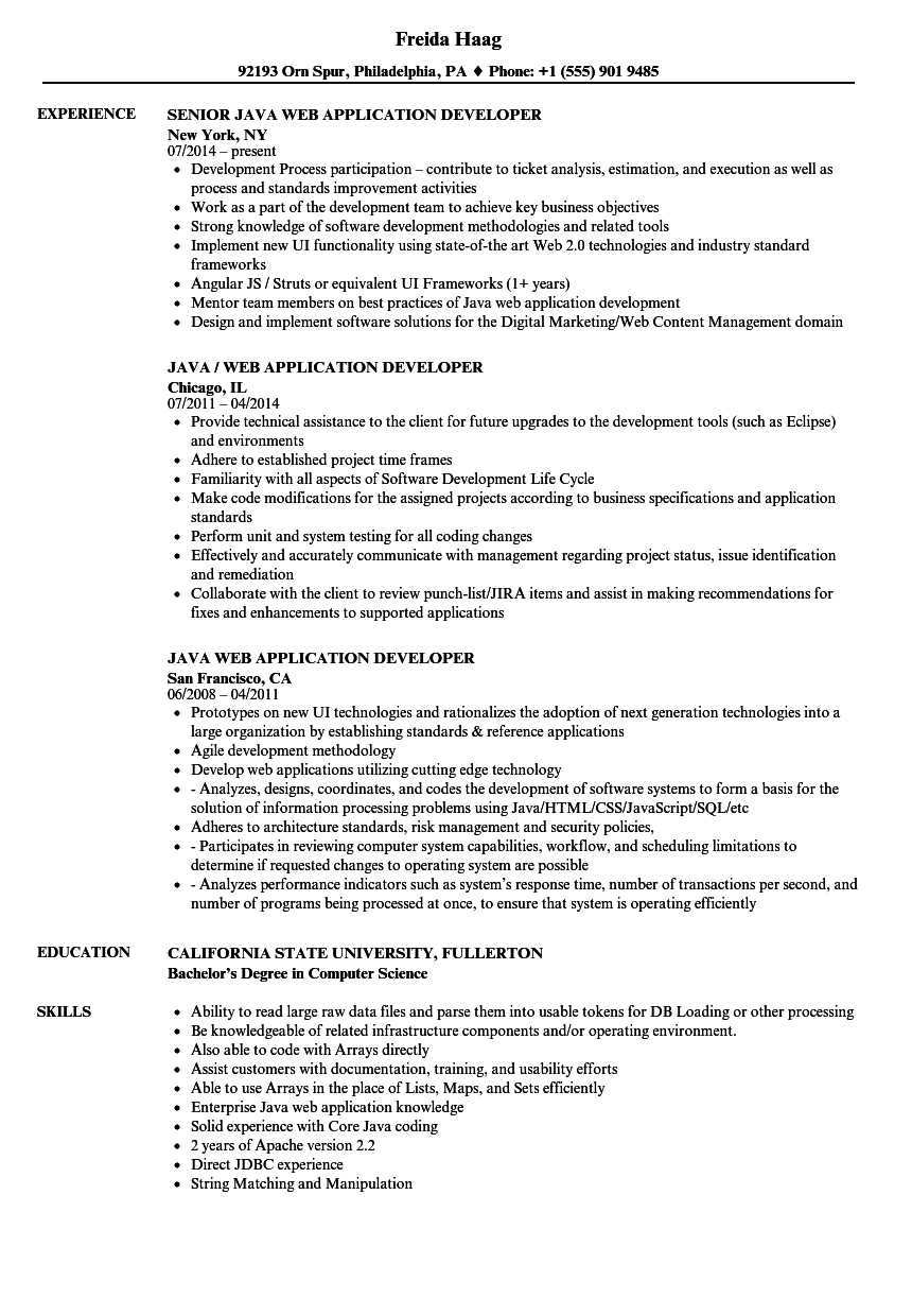 java web application developer resume samples