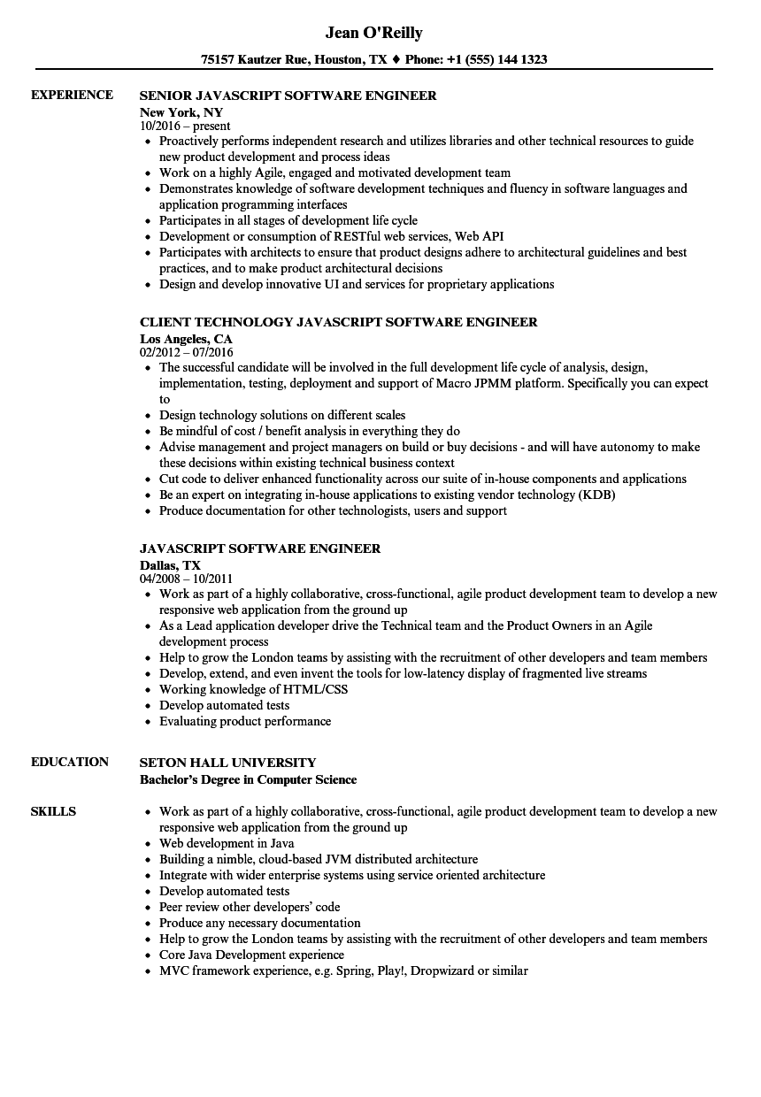 javascript software engineer resume samples velvet jobs