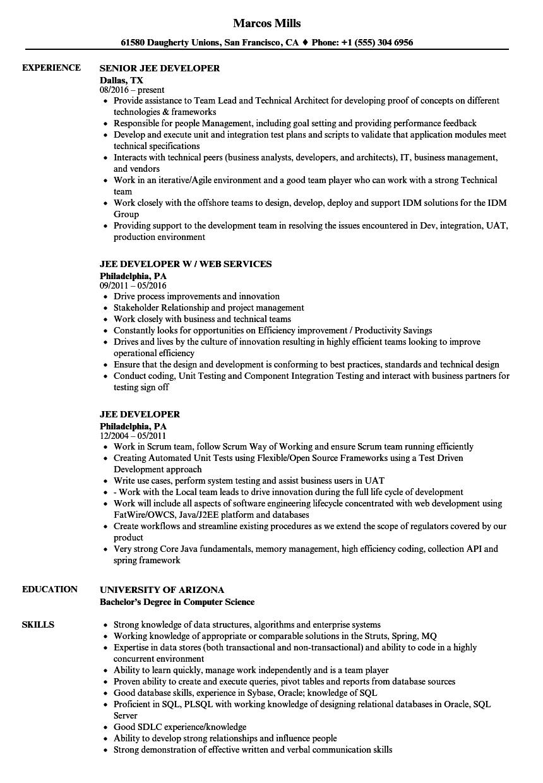 jee developer resume samples