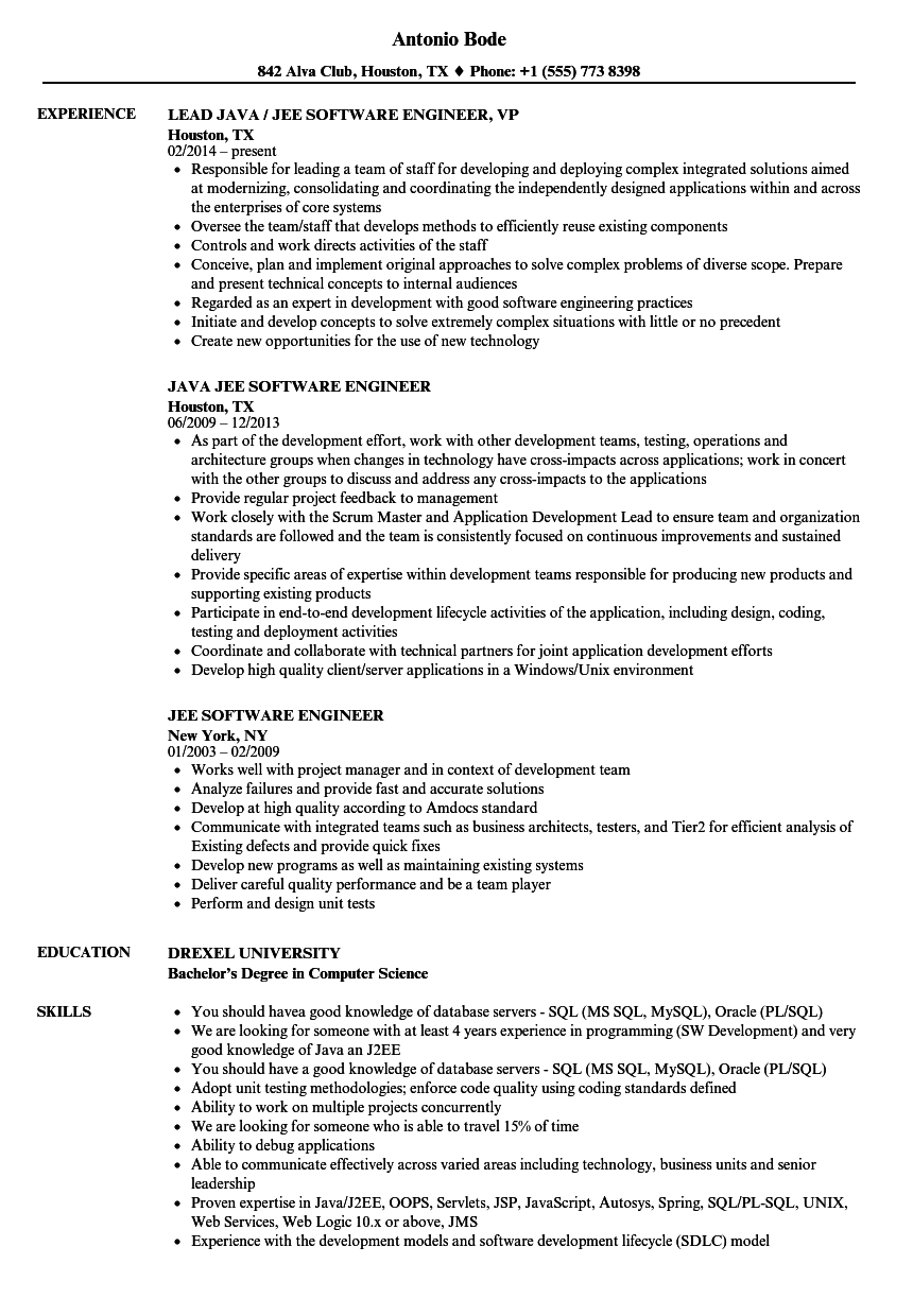 download jee software engineer resume sample as image file - Sample Software Engineer Resume