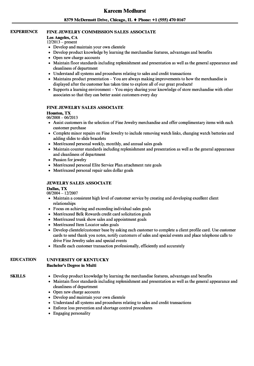 Jewelry Sales Associate Resume Samples Velvet Jobs
