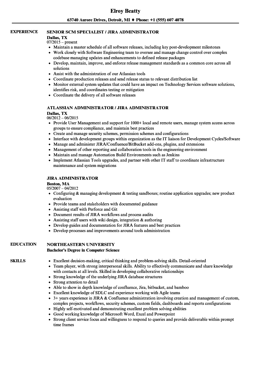 download jira administrator resume sample as image file - Sample Administrative Resume