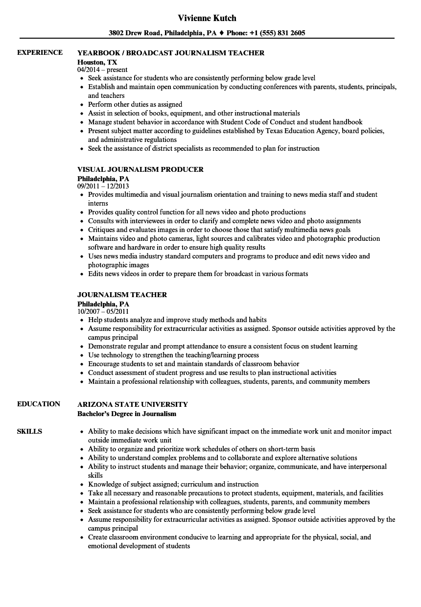 Download Journalism Resume Sample As Image File