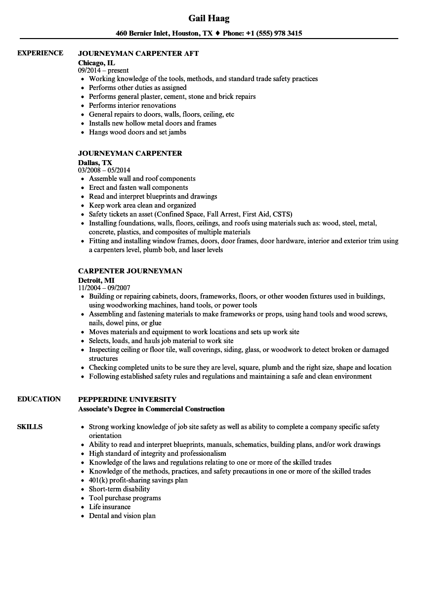 Journeyman Carpenter Resume Samples | Velvet Jobs