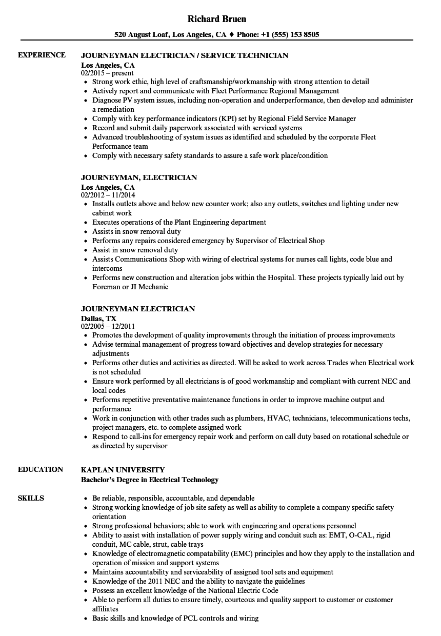 Journeyman Electrician Resume Samples Velvet Jobs