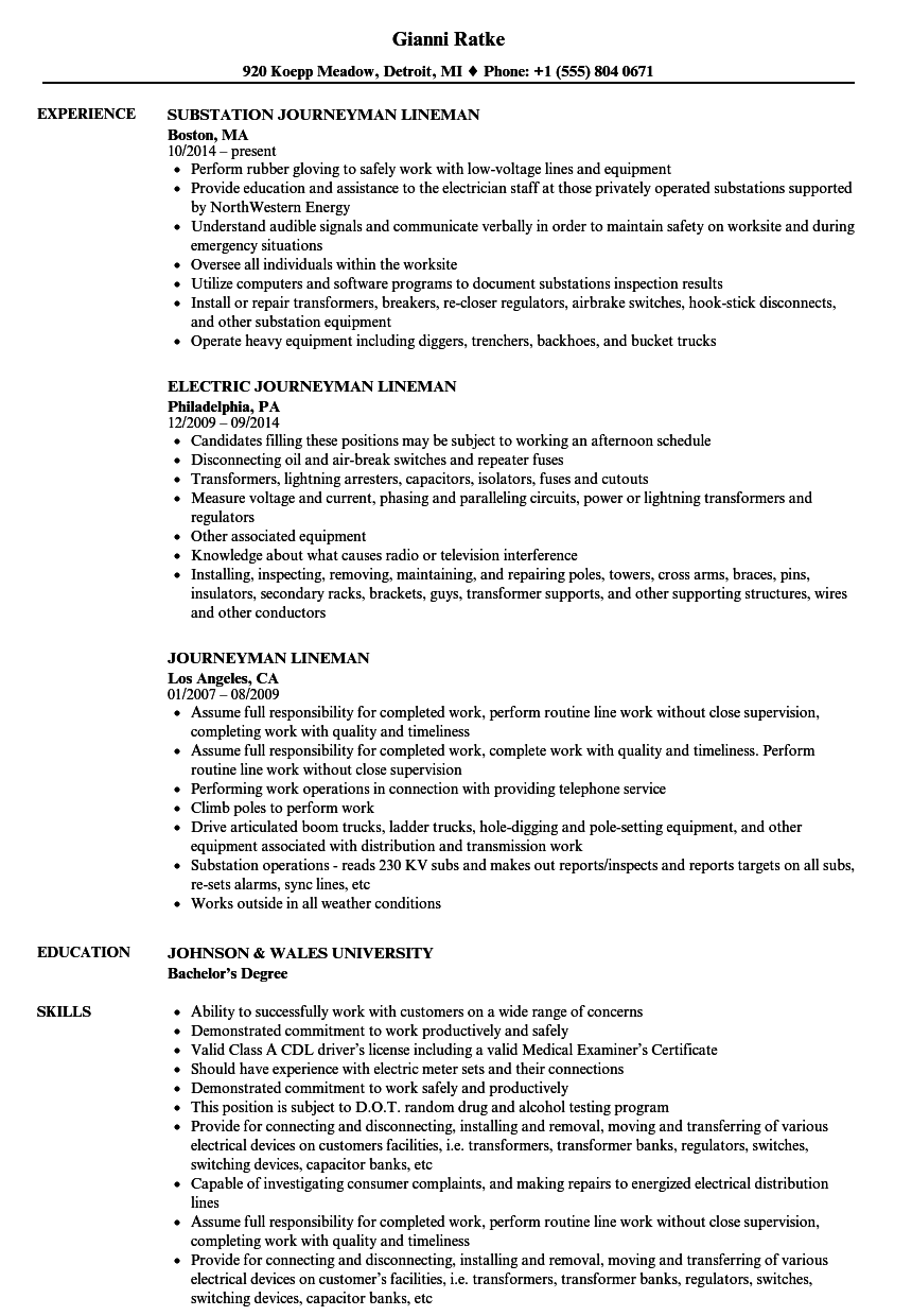 Awesome Download Journeyman Lineman Resume Sample As Image File Regard To Lineman Resume