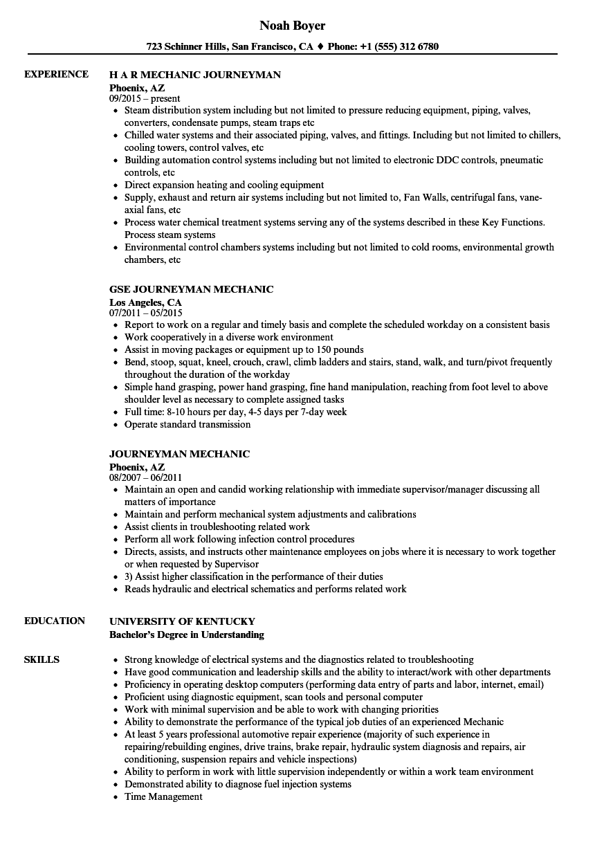Journeyman Mechanic Resume Samples Velvet Jobs
