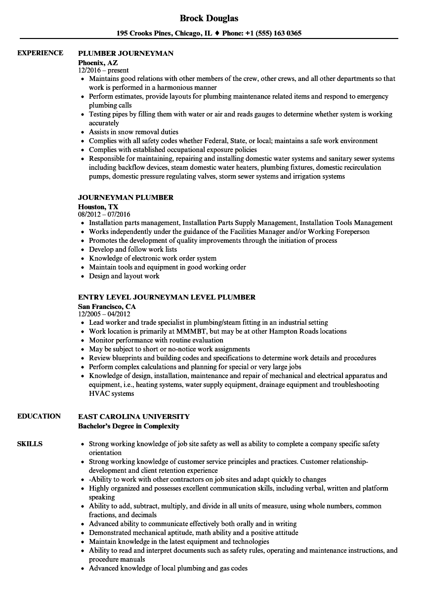 Journeyman Plumber Resume Samples