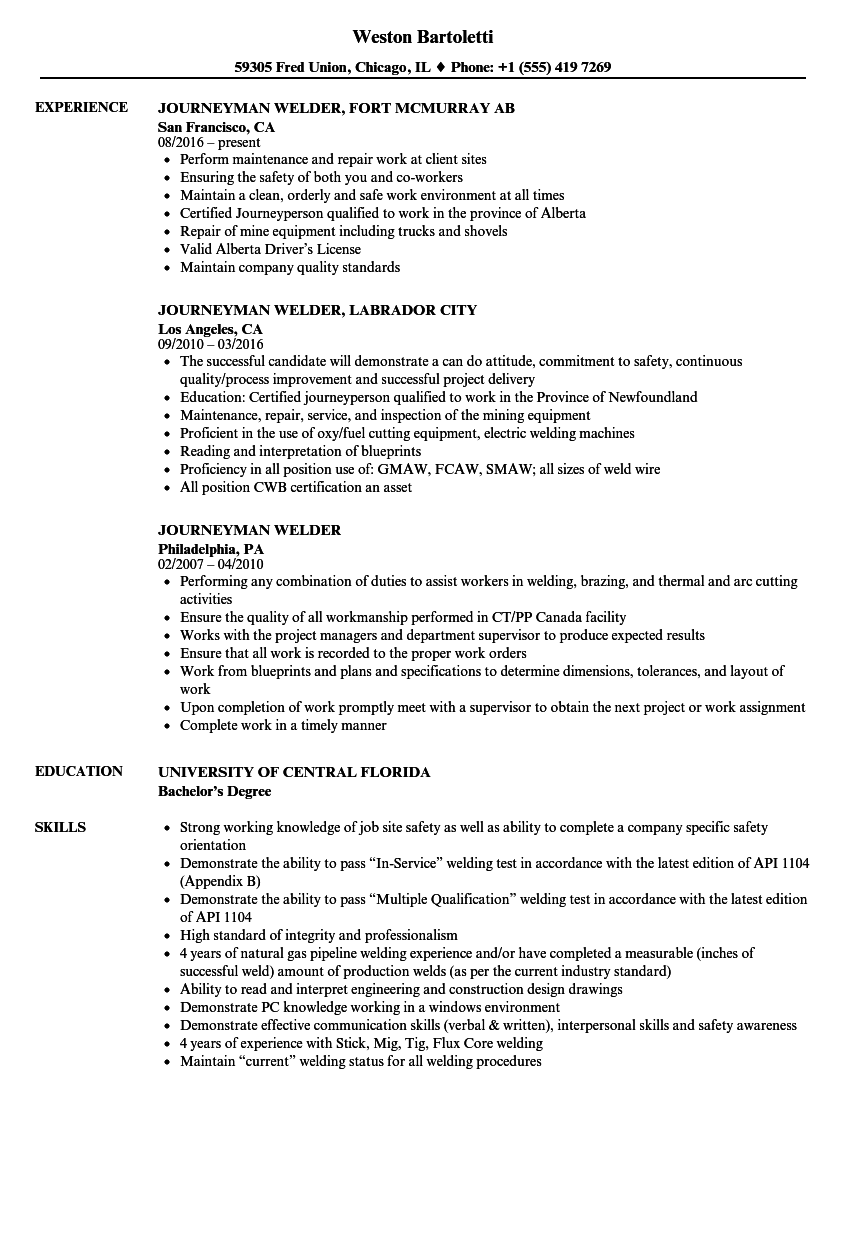download journeyman welder resume sample as image file - Welder Resume