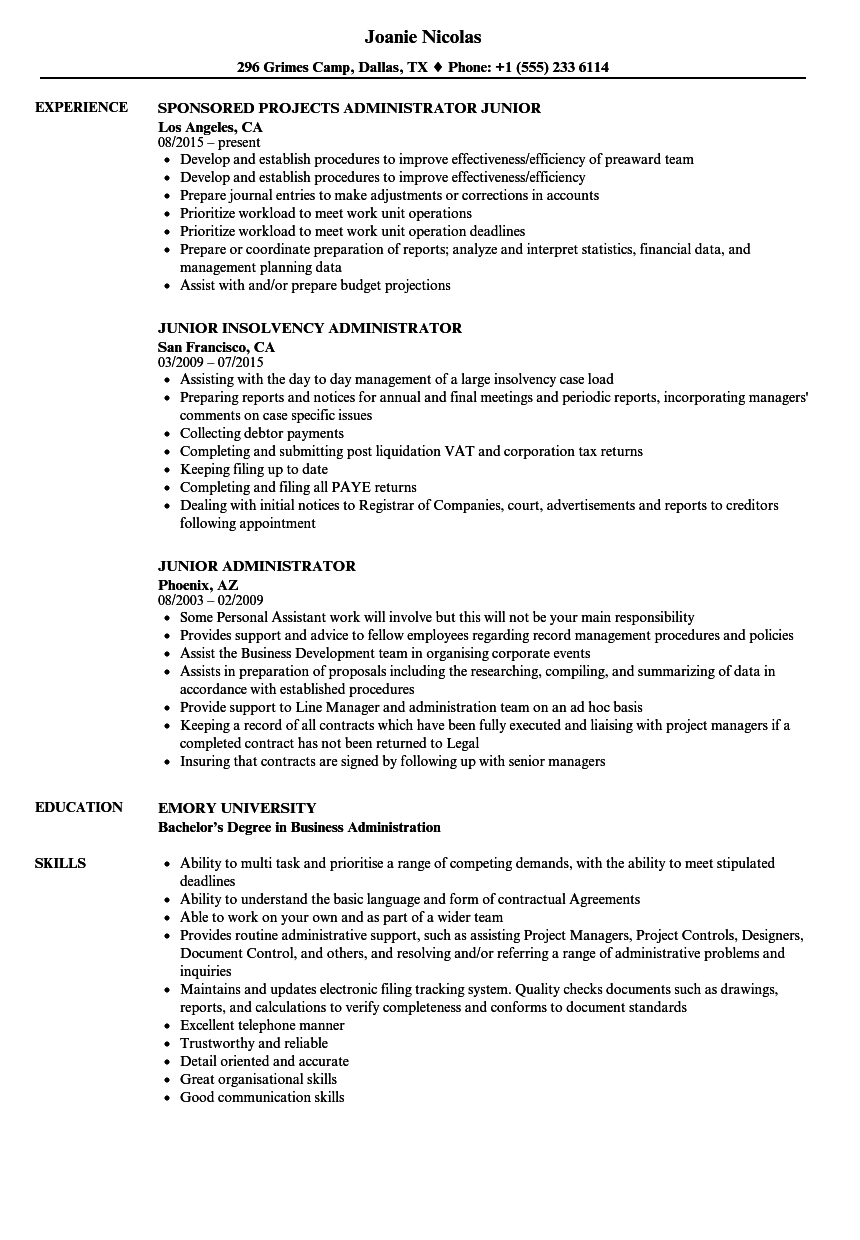 Junior Administrator Resume Samples | Velvet Jobs