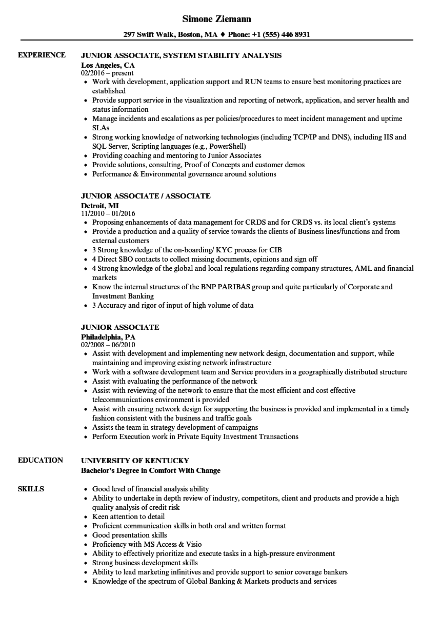 junior associate resume samples