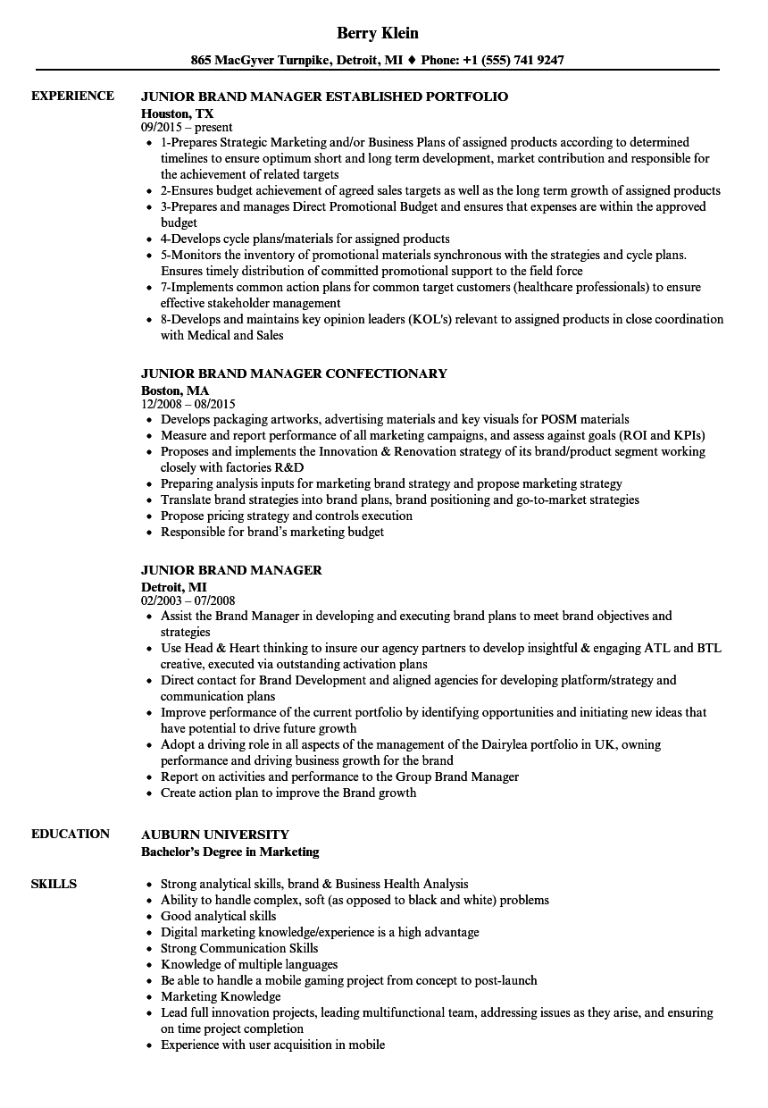 Download Junior Brand Manager Resume Sample As Image File