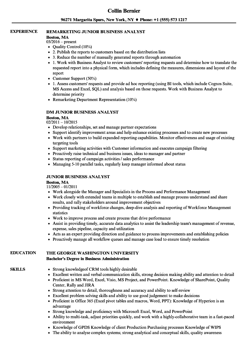 sample cv for junior business analyst