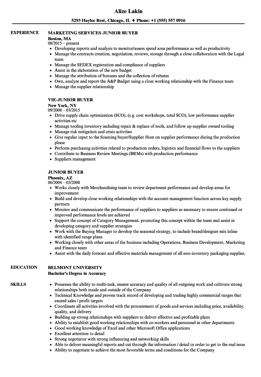 junior buyer resume samples