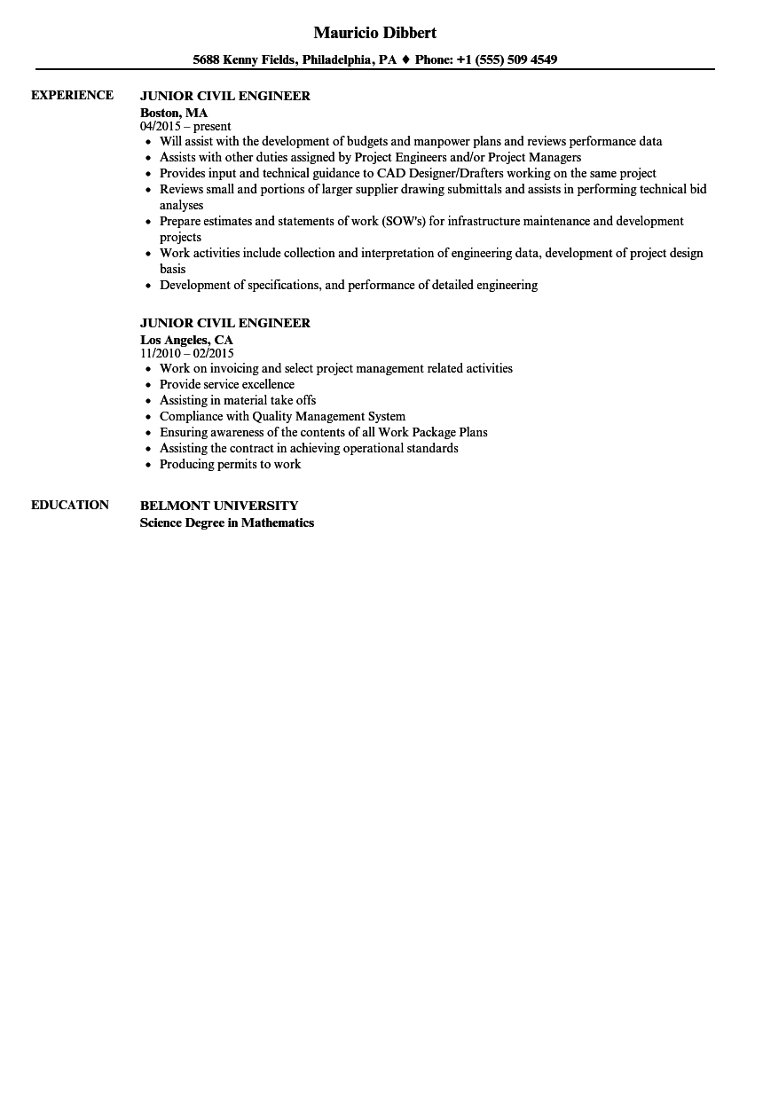 download junior civil engineer resume sample as image file - Junior Civil Engineer Resume