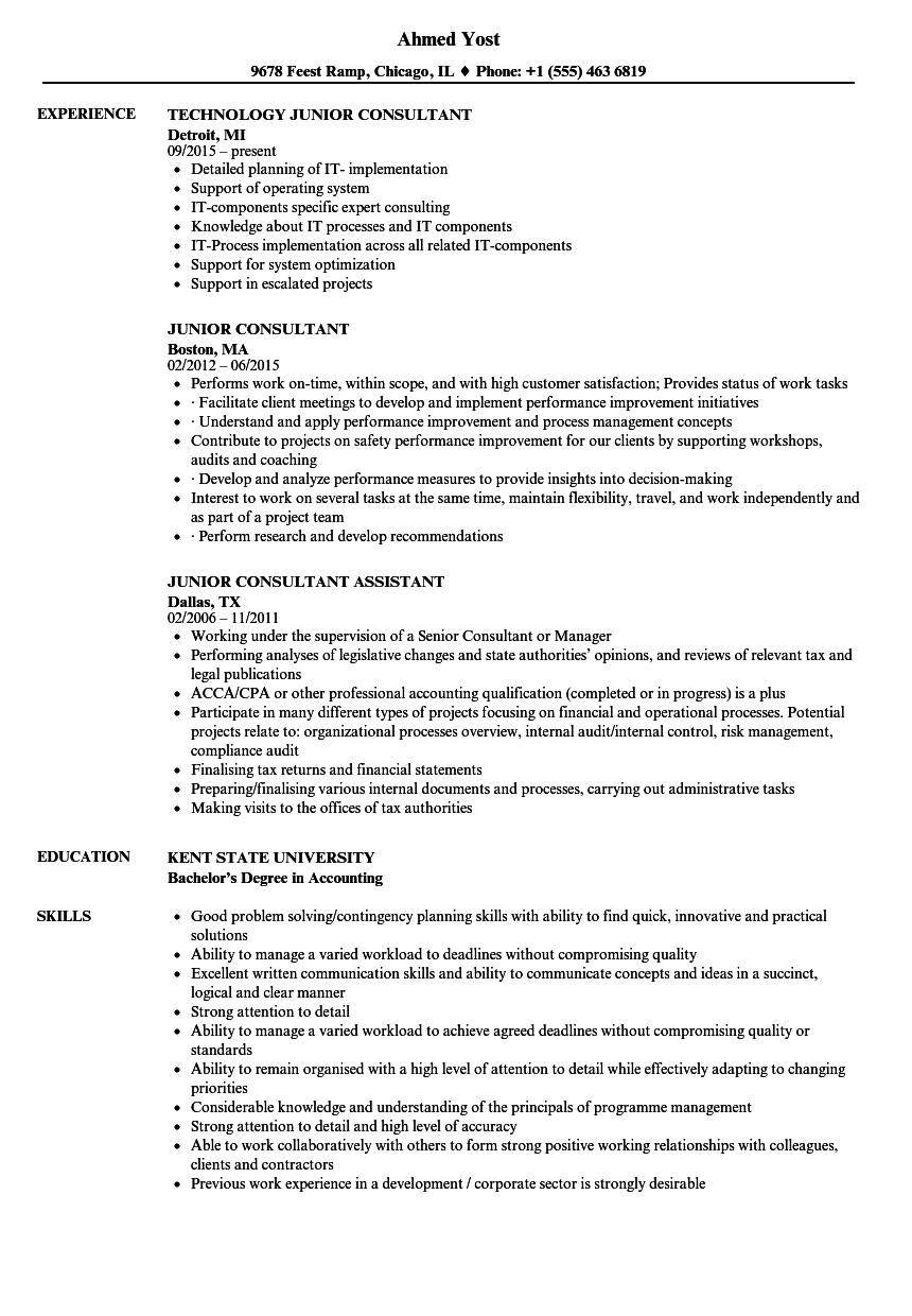 Junior Consultant Resume Samples | Velvet Jobs