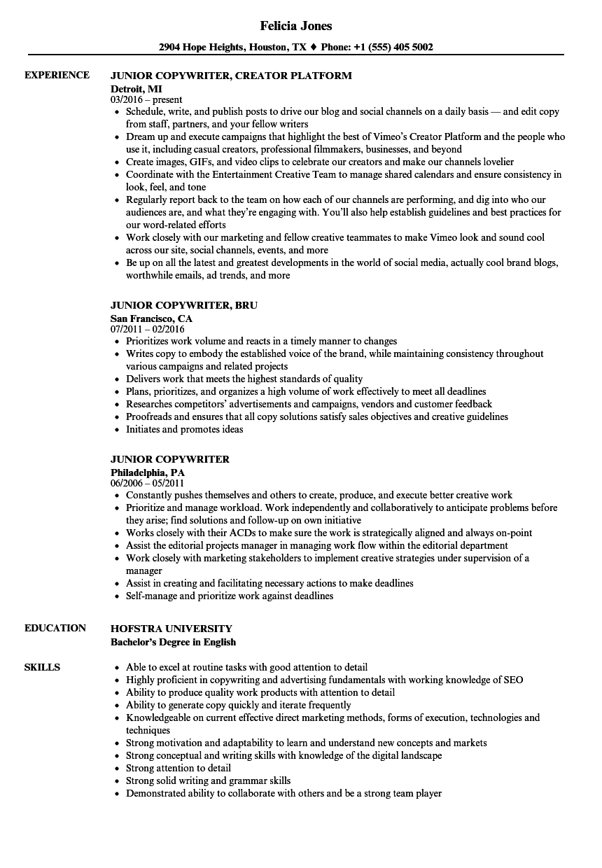 junior copywriter resume samples
