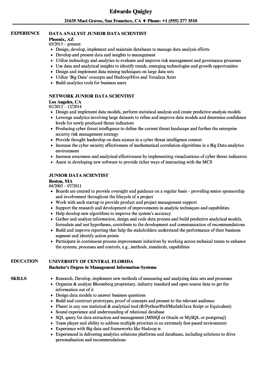 Junior Data Scientist Resume Samples Velvet Jobs