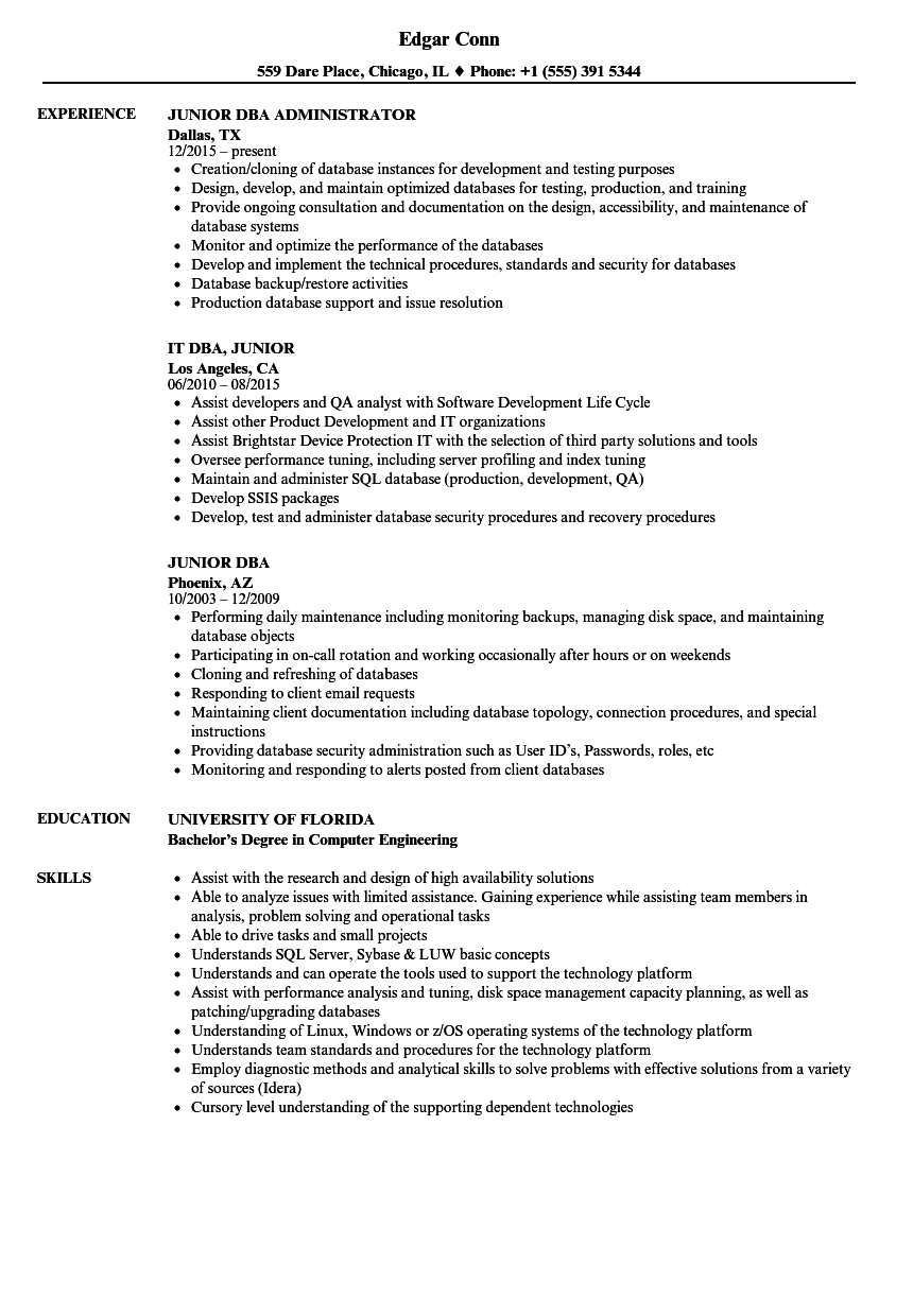 Junior DBA Resume Samples | Velvet Jobs