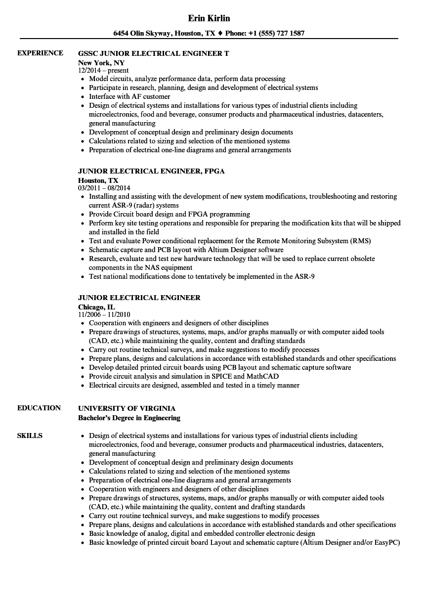 Junior Electrical Engineer Resume Samples Velvet Jobs Autocad 2011 Provides Circuit Design And Analysis Tools Download Sample As Image File