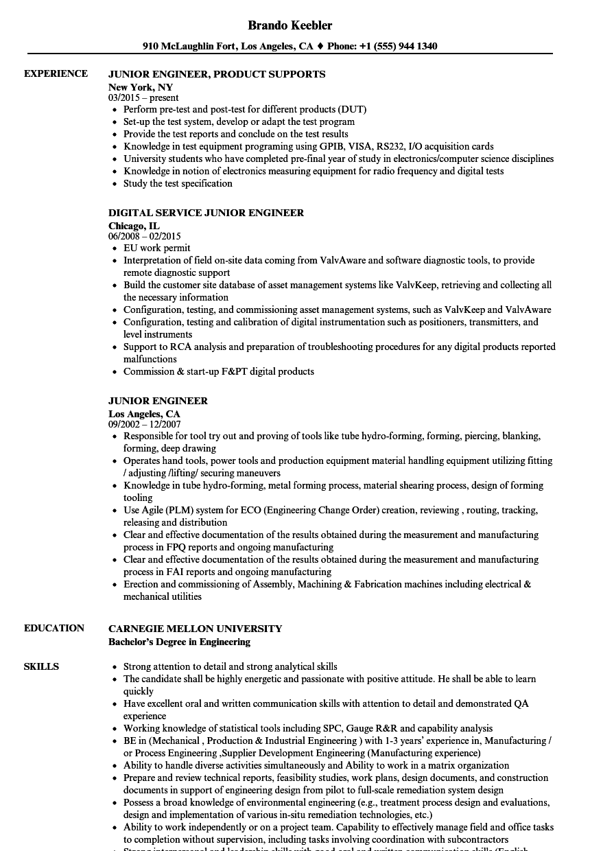 Download Junior Engineer Resume Sample As Image File