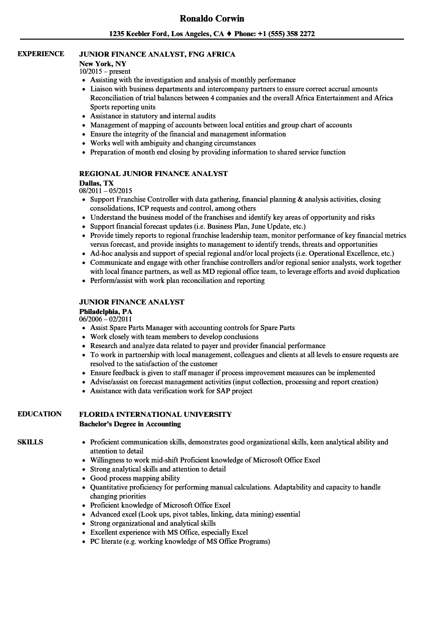 junior finance analyst resume samples