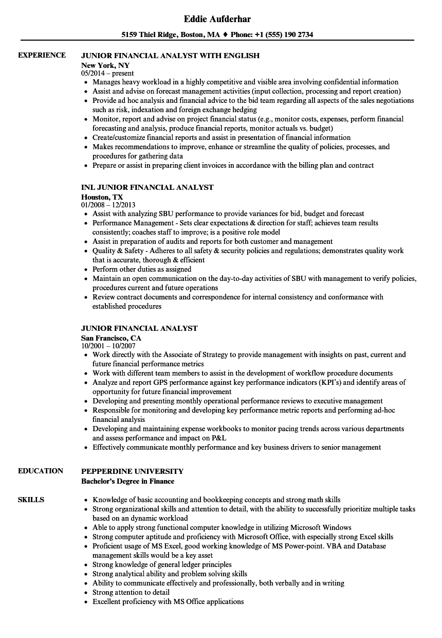 download junior financial analyst resume sample as image file