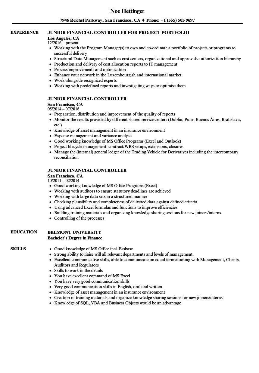 junior financial controller resume samples