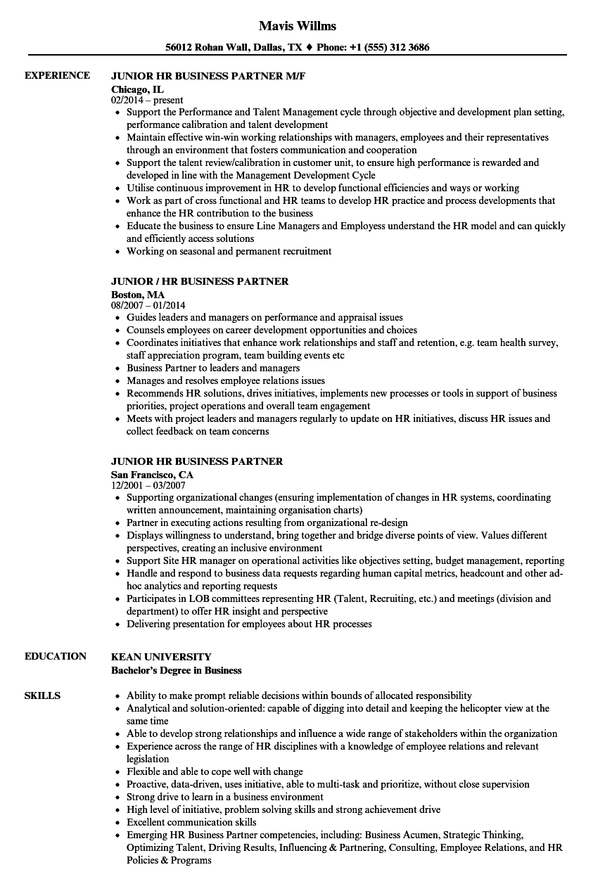 Download Junior HR Business Partner Resume Sample As Image File