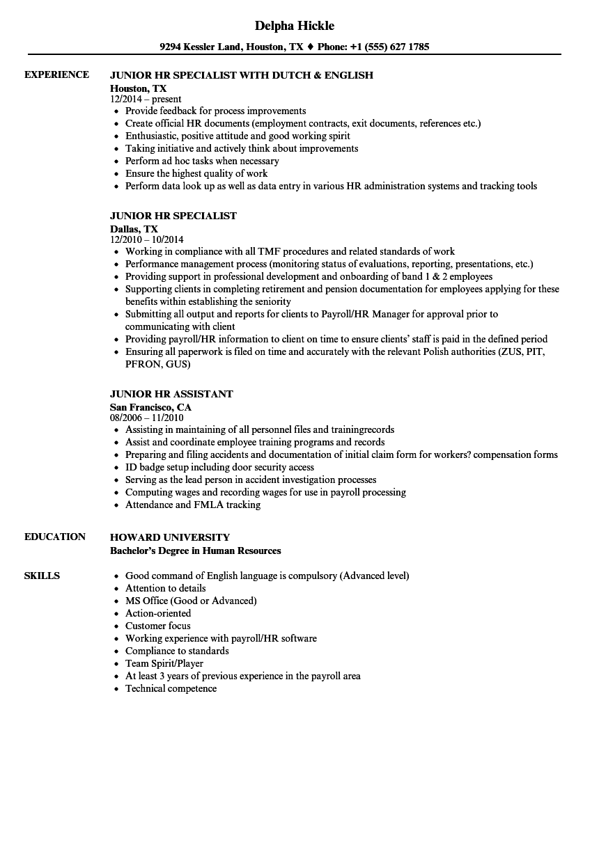 download junior hr resume sample as image file - Workers Compensation Specialist Sample Resume
