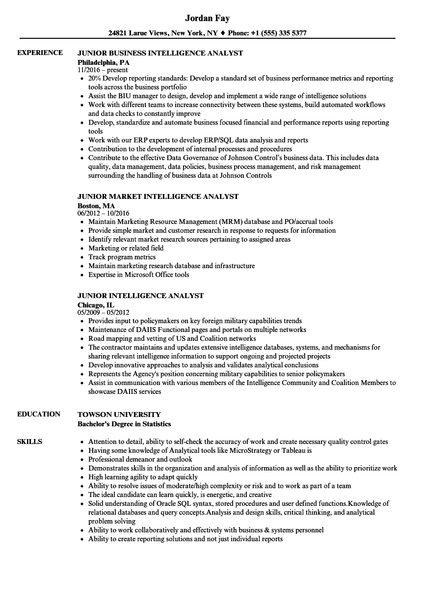 download junior intelligence analyst resume sample as image file