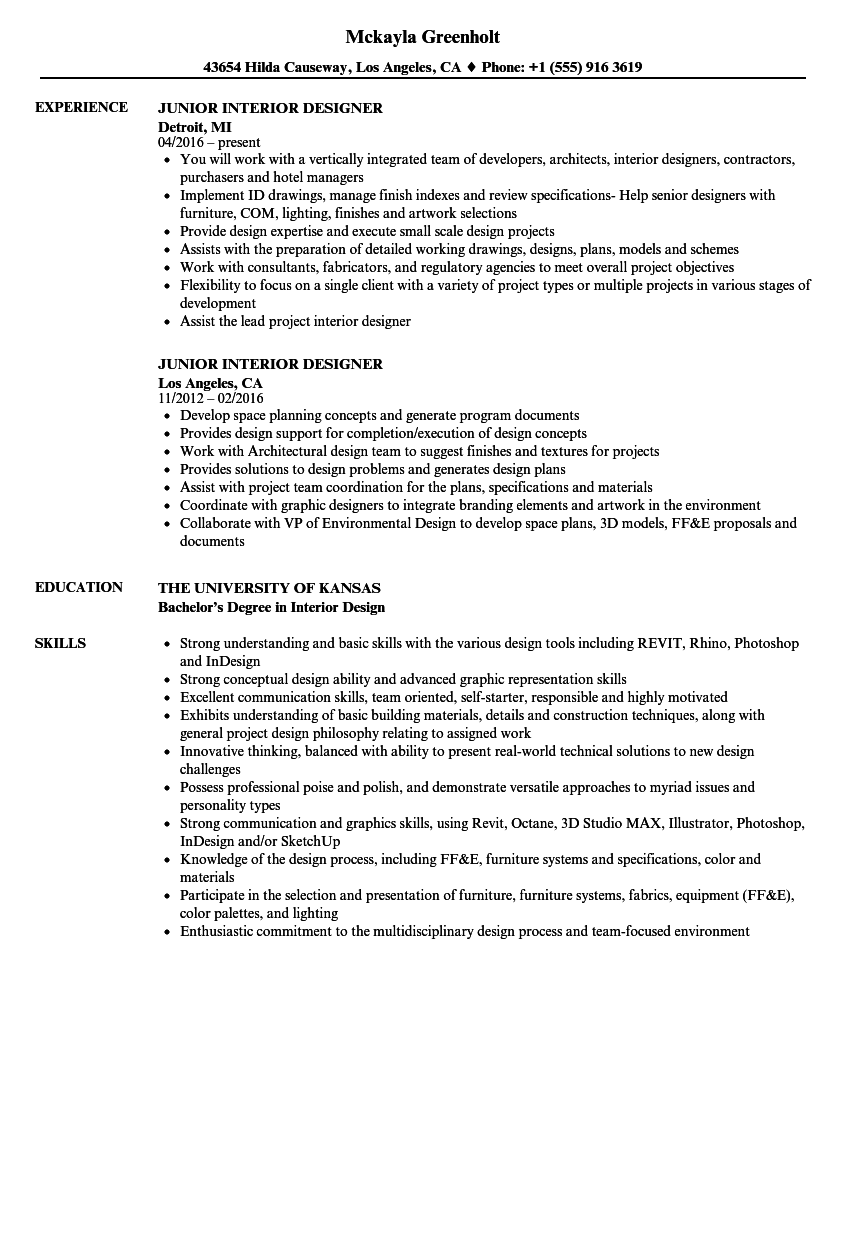 Junior Interior Designer Resume Samples | Velvet Jobs