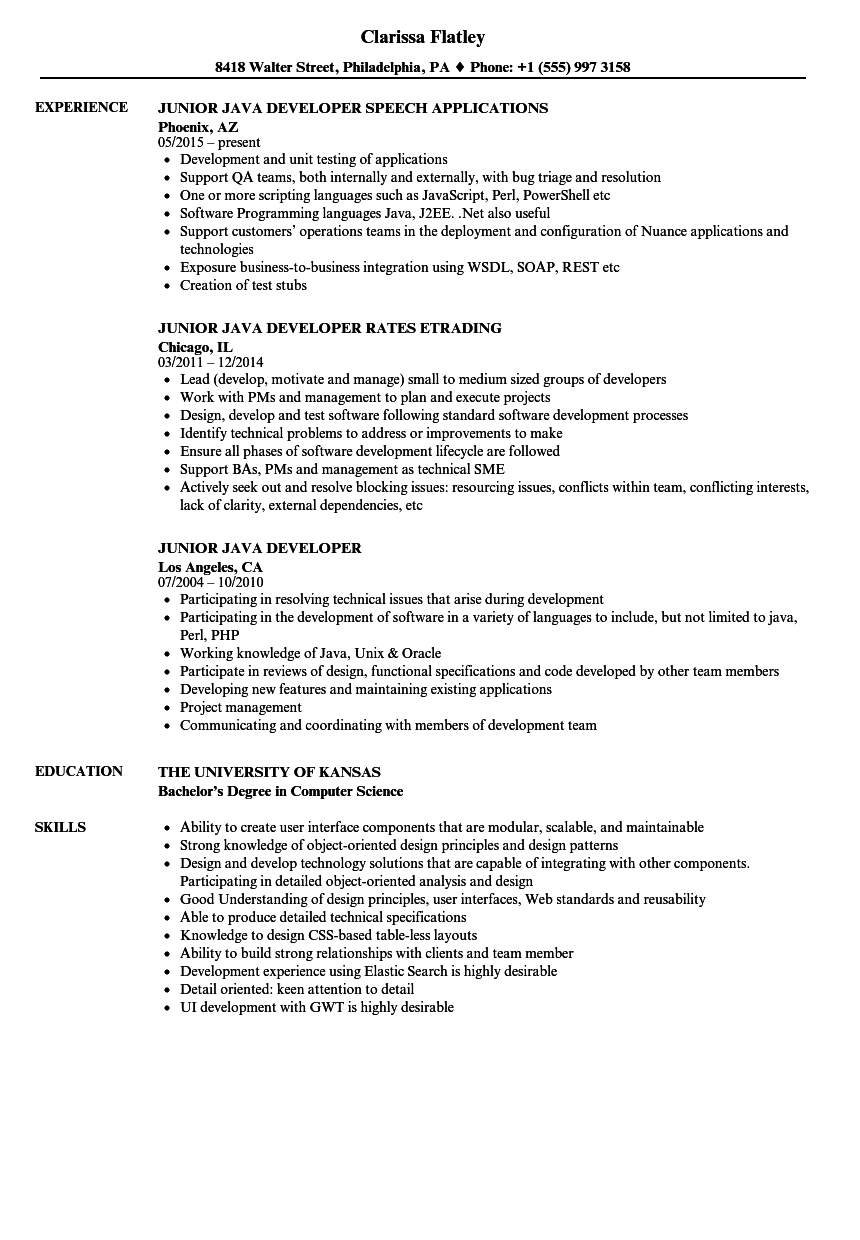 Junior Java Developer Resume Samples | Velvet Jobs