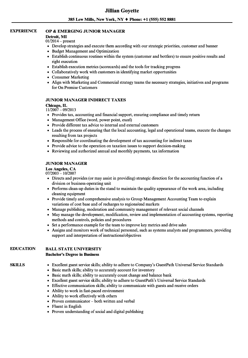 download junior manager resume sample as image file - Junior Product Manager Resume