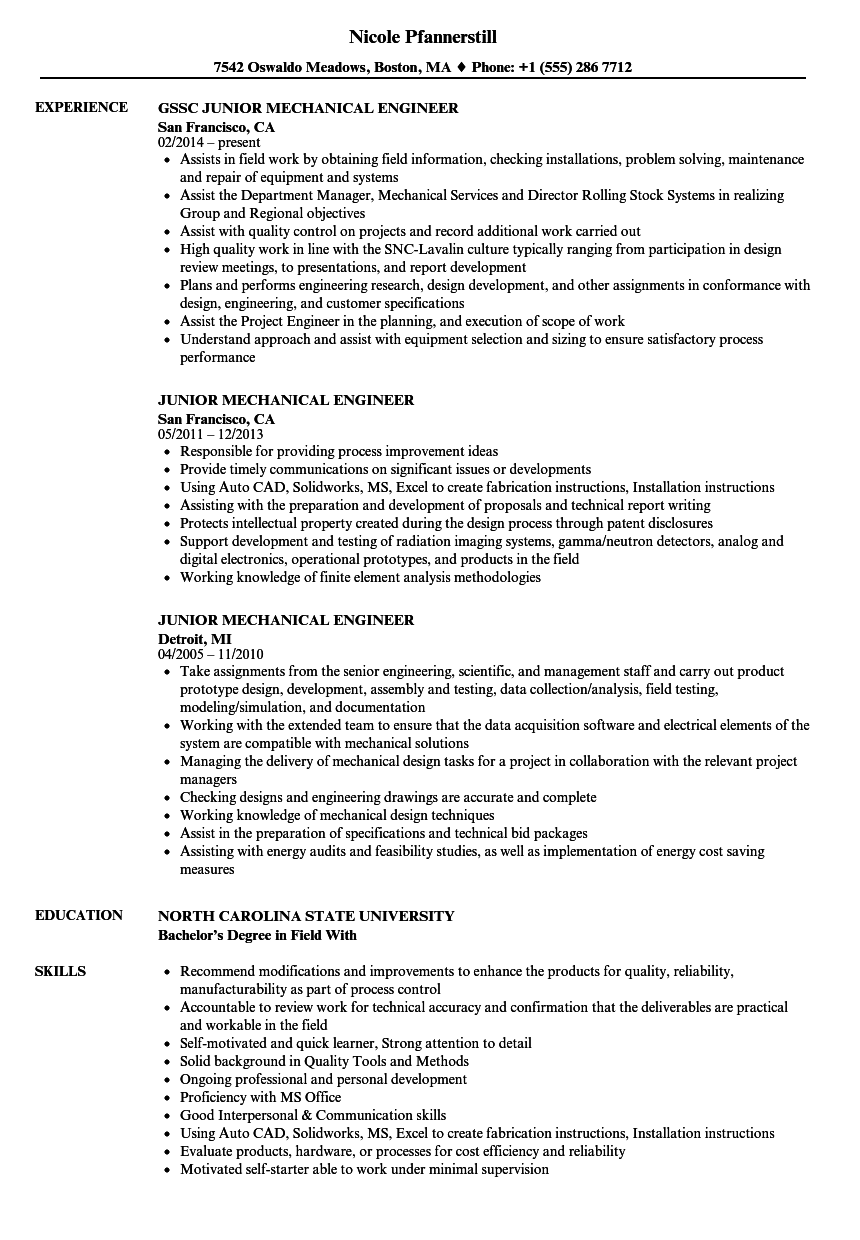 download junior mechanical engineer resume sample as image file - Mechanical Engineer Resume