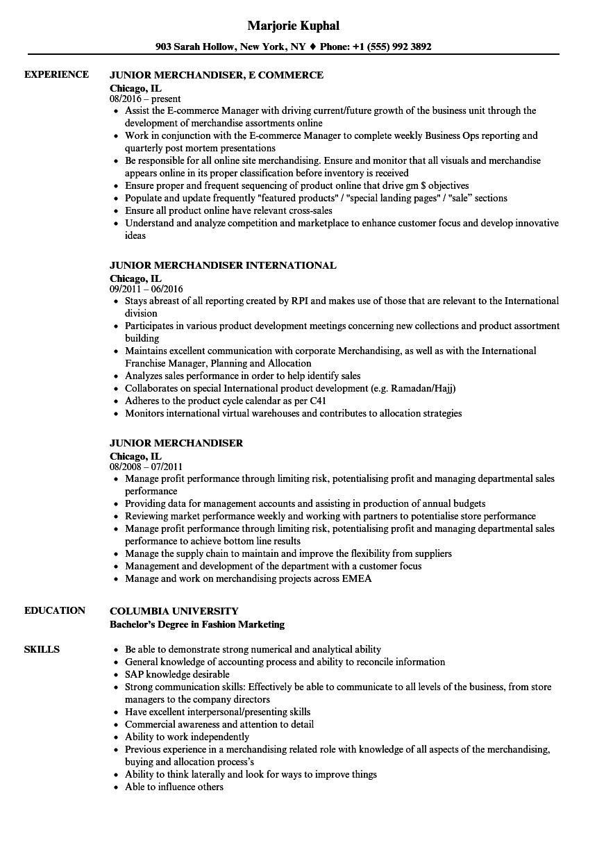 Junior Merchandiser Resume Samples | Velvet Jobs