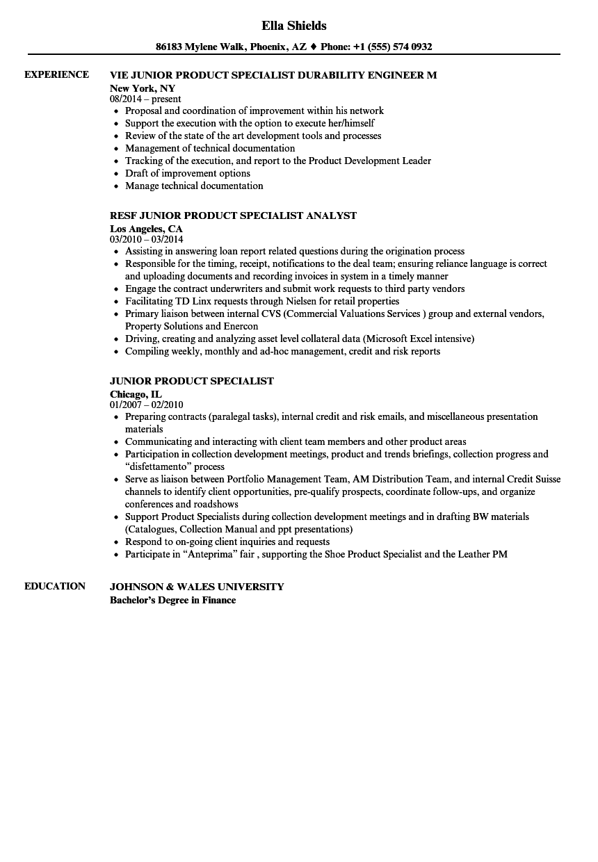 junior product specialist resume samples